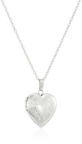 14k White Gold Engraved Heart Locket, 18'' by Amazon Collection