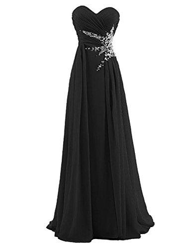 DianSheng Women's Sweetheart Beading Long Chiffon Prom Dress Evening Party Gown Black US6 Black Chiffon Sweetheart Beading