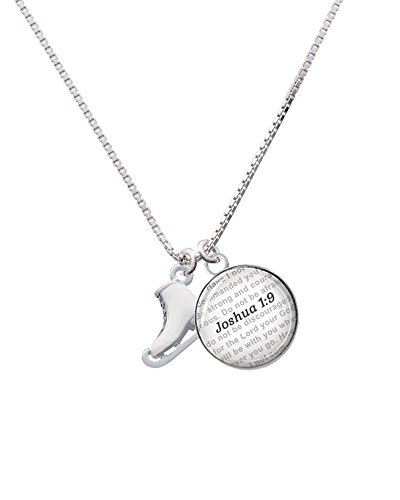 Silvertone 3-D White Ice Skate - Bible Verse Joshua 1:9 Glass Dome Necklace, 18