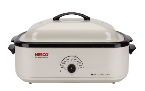 Roaster With Cooking Electric - Nesco 4808-14-30 Classic Roaster Oven, 18-Quart, Non-stick Cookwell, Ivory