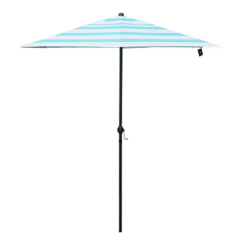 APEX LIVING 7.5 Feet Garden Patio Umbrella Market Outdoor Table Umbrella with Carry Bag Blue and White Stripe For Sale