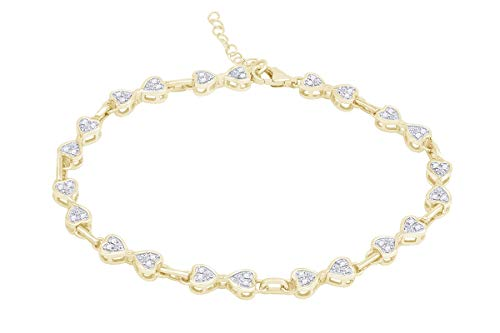 Samaira Jewelry Natural Diamond Accent Heart Bow Link Bracelet in 14K Yellow Gold Plated 925 Sterling Silver For Women (1/10 Cttw, I-J Color, I2-I3 Clarity)