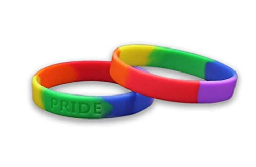 Fundraising 2 Adult Size Gay Pride Rainbow Silicone Bracelets Support LGBTQ Cause for $<!--$8.49-->