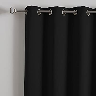 Wide Width Silver Stainless Steel Grommet Top Premium Thermal Blackout Curtain Panel