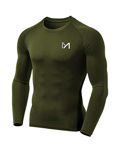 MEETYOO Men's Compression Shirt, Cool Dry Long Sleeve Underwear Top for Men, Sport Fitness Base Layer for Running Biking Hunting Green