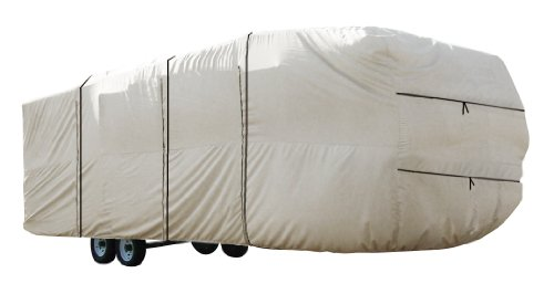 Carver 20' to 22' Fifth Wheel Toy Hauler RV Cover, Silver Cloud 6 oz. Polyester (Silver 22' Wheel)