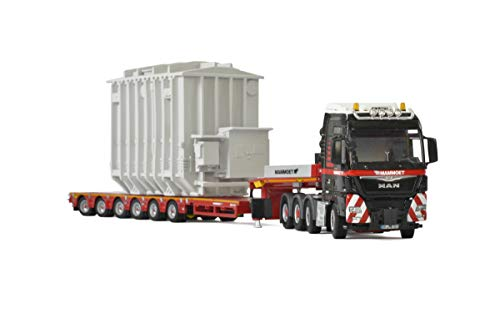 (Man TGX XXL 8x4 Mammoet Truck with 6 Axle Low Loader Trailer and Transformer 1/50 Diecast Model by WSI Models 41-0221 )