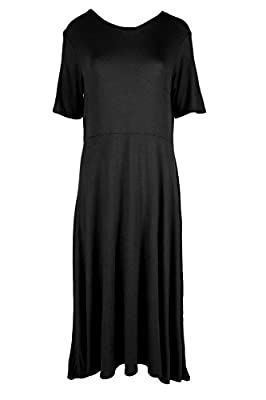 Oops Outlet Women's Short Cap Sleeve Midi A-Line Skater Swing Tea Length Dress