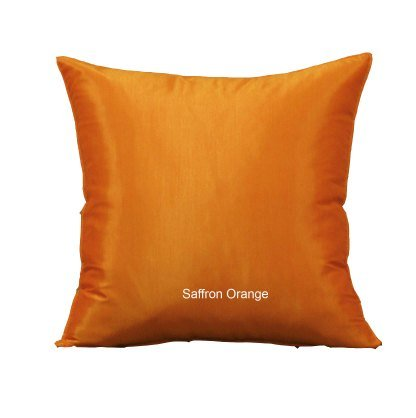 Shopping The Globe 1 Thai Silk Look 14''x14'' Throw Pillow - Saffron Orange by Shopping The Globe