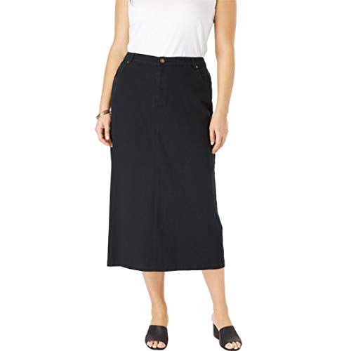 Jessica London Women's Plus Size Classic Cotton Denim Long Skirt - Black, 12