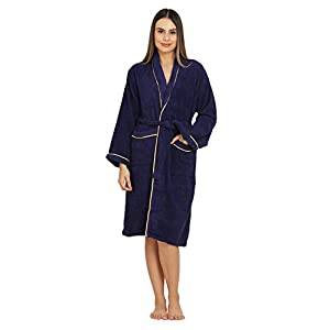 Divine Overseas – Double Sided Terry Premium Shawl Collar Higher Absorbency -100% Pure Cotton (Celestial Bathrobe S/M, Deep Turquoise)