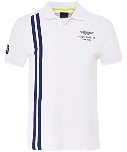 (Hackett Men's Slim Fit Vertical Stripe Polo Shirt White L)