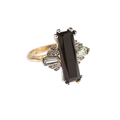 Providence Vintage Jewelry Ring Jet Black and Clear Swarovski Crystals 18k Yellow Gold - Vintage Swarovski Jet