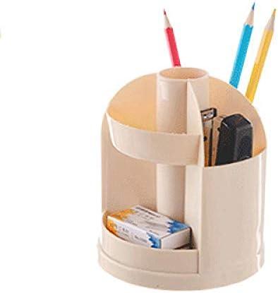 RUIXIANG Multifunktions-Aufbewahrungsbox für Büro, Schreibtisch, drehbar, Kosmetik, Eyeliner, Aufbewahrungsbox für Stifte hellgelb