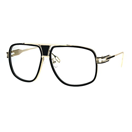 Mens Retro Racer Geeky Nerd Aviator Mob Clear Lens Eye Glasses Gold - Guys Nerd Glasses For