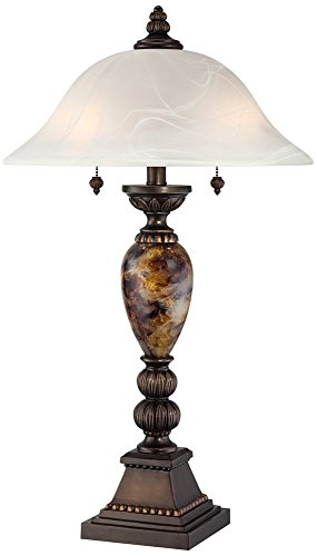 Kathy Ireland Alabaster Glass Mulholland 2-Light Table Lamp (Antique Tiffany Table Lamp)