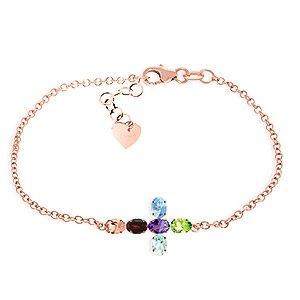 QP bijoutier péridot, grenat naturel & Améthyste Bracelet en or Rose 9 carats - 5000R 1.68ct