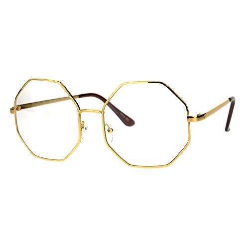 Womens Clear Lens Octagon Metal Oversize Retro Eyeglasses Yellow - Eyeglasses Octagon