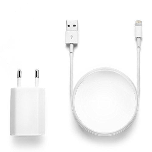 Original iProtect Set 2en1 : câble USB de charge + adaptateur pour 5 5s 5c SE, iPhone 6 6 Plus 6s 6s Plus, iPhone 7 7 Plus, iPhone 8 8 Plus, iPhone X, iPad en blanc