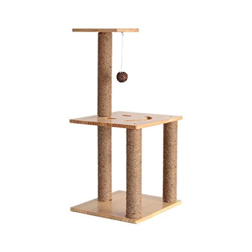 FTFDTMY Kätzchen-Klettergerüst, Massivholz Kleine Kratzbaum-Sisal-Säule Katzenhaus-Sprungplattform Einteilige…