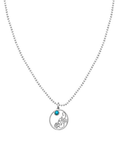 Lucky Symbolic Hamsa+ Evil Eye + Heart With Two Gemstones In Silver Necklace | Alef Bet Jewelry (Whimsical Jewelry Unisex)