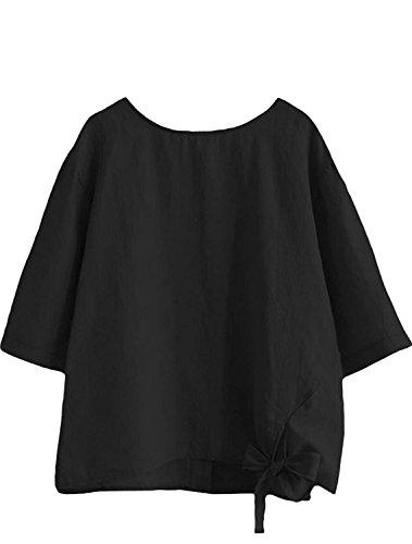 Manga Liso Matchlife Para Camisas Negro Corta Mujer F1aH4pqc