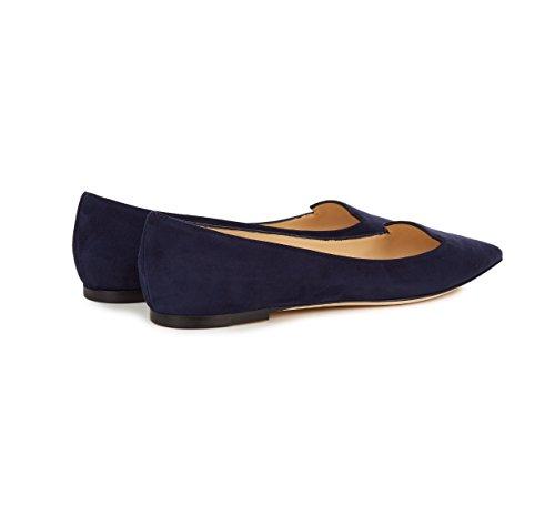 Sammitop Dames Puntschoen Flats Uitsneden Ballet Schoenen Instapper Casual Schoenen Patt Blauw