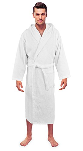Turkuoise Men's Turkish Terry Cloth Robe, Thick Hooded Bathrobe ()