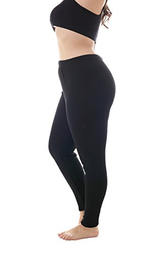 Plush Legging - Zerdocean Women's Plus Size 100% Cotton Fleece Lining Leggings Black 3X
