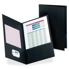 Twin-Pocket Folder, Legal, 100 Sheet Cap., 25/BX, Black, Sold as 1 Box, 25 Each per Box