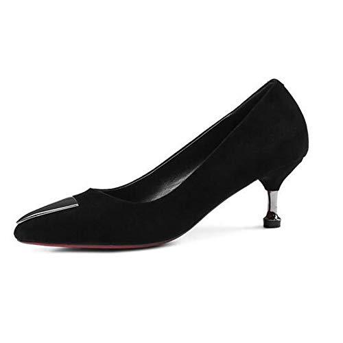 Fall Grey Suede Women's Heel Black Shoes Comfort Heels ZHZNVX Gray Stiletto antECxvaw