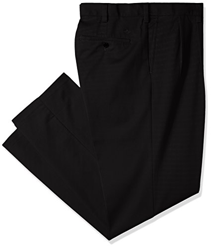 Dockers Men's Big and Tall Classic Fit Easy Khaki Pants - Pleated, Black (Stretch), 36 36