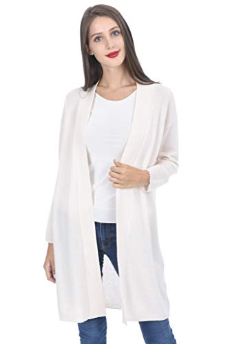 State Cashmere Women's 100% Cashmere Soft Open Front Long Cardigan White