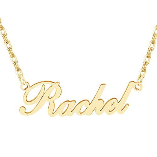 Name Necklace Personalized, Custom Made Nameplate Necklace Dainty Sterling Gold Gift for Mother Girlfriend ()