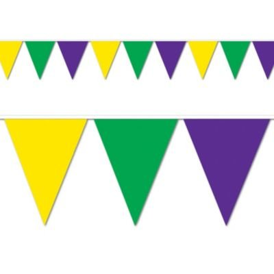 Mardi Gras Pennant Banner - Green, Gold and Purple Pennant Banner