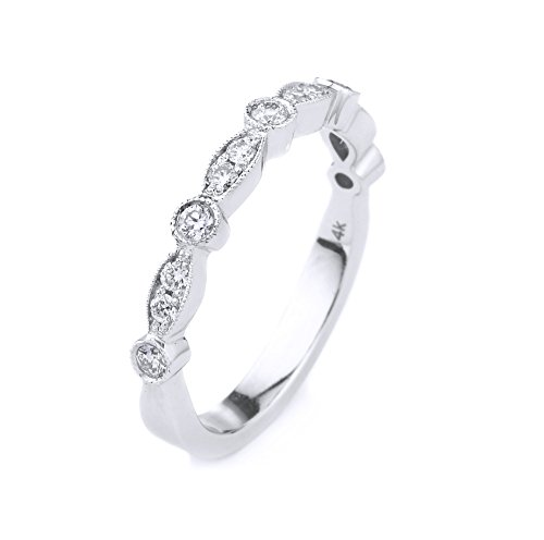 14k White Gold Half Eternity Diamond Wedding Band, Diamond Stacking Ring - Gold Half Eternity Diamond