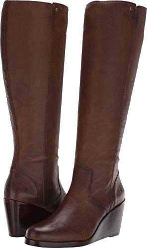 FRYE Women's Emma Wedge Tall Fashion Boot, Brown, 9 M US