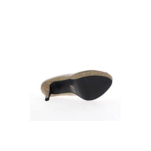 Escarpins ouverts taupes vernis à talons de 12,5cm et plateforme de 3cm