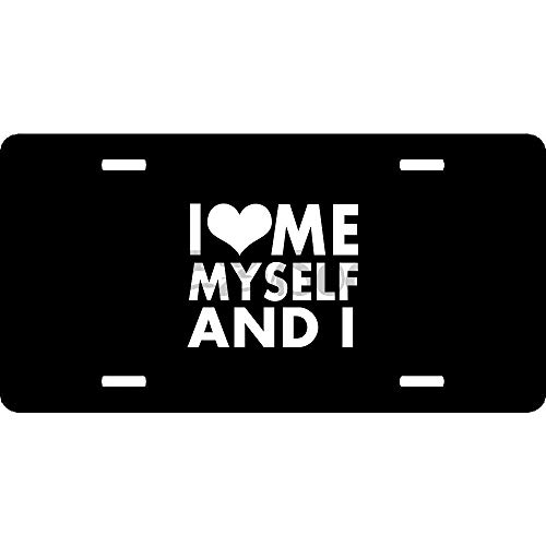ZzUSoo Black Stainless Steel I Love Me Myself and License Plate Cover for Women/Men, Vanity Plate Cover Holder, 12 X 6 Fit for US & Canada, 4 Holes and Screws