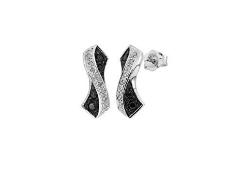 Or blanc 9carats Diamant Noir et Blanc Boucles d'oreilles clous croisé