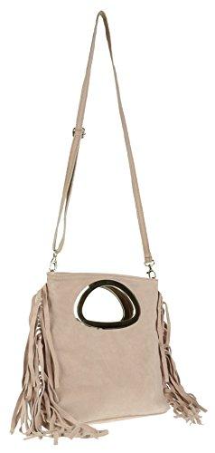 Girly Handbags - Cartera de mano de Material Sintético para mujer color carne