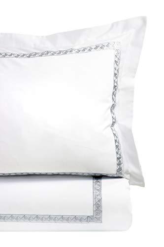 Melange Home Sateen Cotton Key Stripe Embroidery Sham Pair 26X26, Grey on - Shams Bath