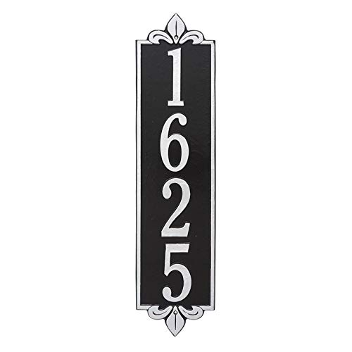 Personalized Lyon Vertical Estate Wall Plaque (Black/Silver)