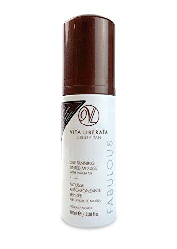 Fabulous Sheer - Organic Sunless Tanning Mousse - VITA LIBERATA Fabulous Self Tan Mousse, Natural, Organic, Vegan Fake Tan Mousse with NEW Sheer Caramel Tint - Medium 3.38 fl. Oz.