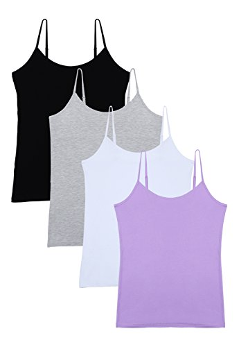 Vislivin Women's Basic Solid Camisole Adjustable Spaghetti Strap Tank Top Black/Gray/White/Purple S