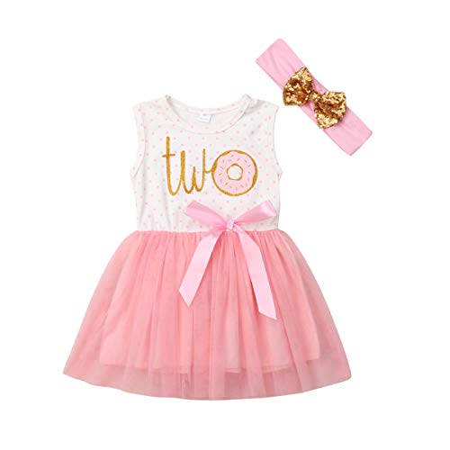 Newborn Baby Girls Pink Striped Tutu Dress First Birthday Skirt Outfits Casual Donut Print Girls Clothes Headband 2Pcs Set (Two Sleeveless, 18-24Months)