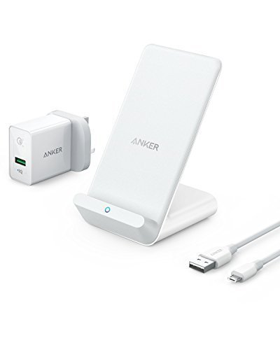 Anker Power Wave 7.5 Stand, 7.5 W Fast Wireless Charger For I Phone X, I Phone 8/8 Plus, With 10 W Fast Charge For Samsung S9/S9+/S8/S8+/S7/Note 8, Lg G7 (Quick Charge 3.0 Ac Adapter Included) by Amazon