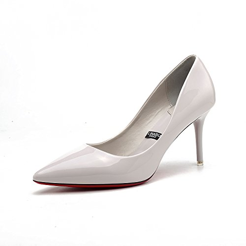 Tip of the high-heel shoes fine with women's singles shoes red wedding shoes, gray 39 by YLSZ-High heels (Image #3)