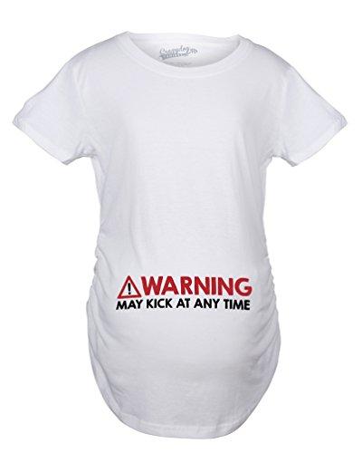 Crazy Dog TShirts - Maternity Warning May Kick At Any Time Funny Pregnancy Announcement T shirt - Camiseta De Maternidad