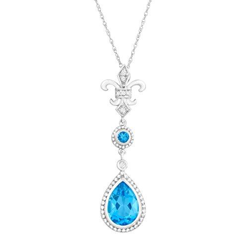 2 1/3 ct Natural Swiss Blue Topaz Fleur-De-Lis Pendant Necklace with Diamonds in 14K White Gold ()